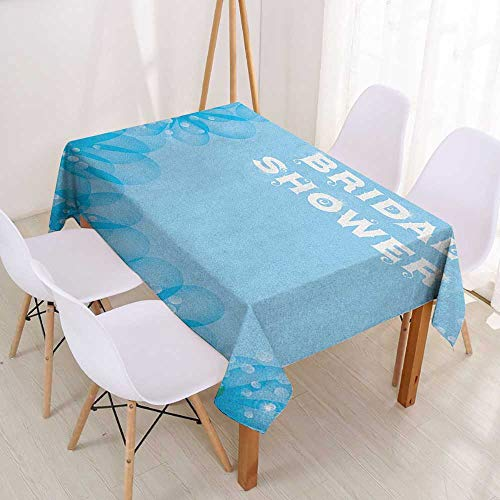 Wendell Joshua Resistant Table Cover Bridal Shower,Sea Inspired Asian Flowers Dots on Abstract Backdrop Art Print,Sky Blue and Pale Blue,Dinner Kichen Home Decor 55