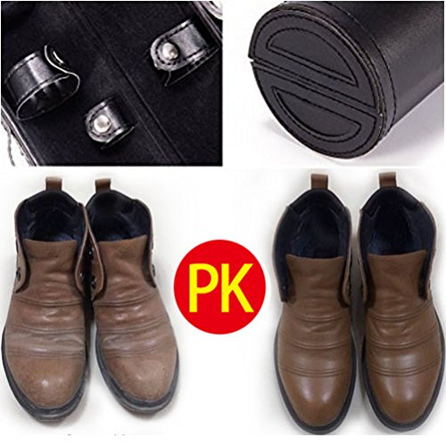 11 in 1 Travel Shoe Shine Kit with PU Leather Sleek Elegant Case Black by TOCGAMT (Image #4)