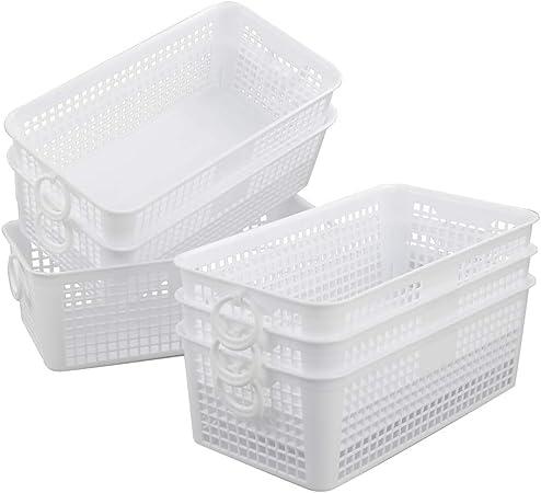 Dynko Cestos de Plastico Rectangular Almacenaje, 6 Unidades, Blanco Cesta Pequeña: Amazon.es: Hogar