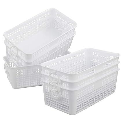 bd259efe3e2f Eagrye 6-Pack White Small Plastic Storage Baskets, 10.35