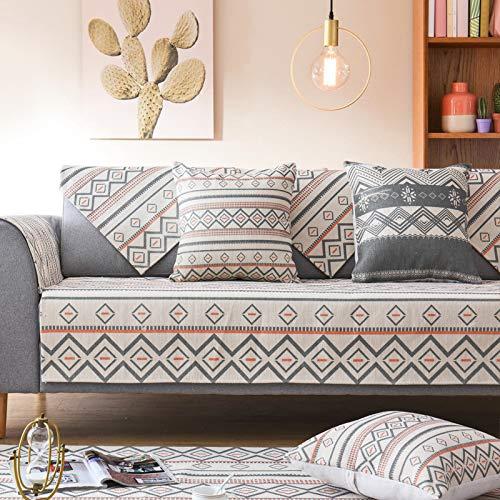 Tejido nórdico de algodón Funda de sofá geométrica elástica ...