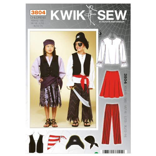 Kwik Sew K3804 Pirate Costumes Sewing Pattern, Size XS-S-M-L-XL