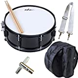 Image of ADM Snare Drum Set with Bag, Sticks, and Strap, for Beginners and Students, Gloss Black