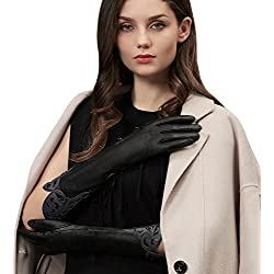 GSG Womens Elegant Laser Cut Elbow Gloves Irregular Cuff Arm Warmer Party Gloves Genuine Leather Evening Dress Bridal Gifts Black 8.5