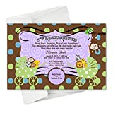 Twins Monkey Baby Shower Invitations Birthday Party Cards Baby Carriage Invitation