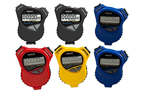 Oslo 6 Pack Assortment Dual Stopwatch/Countdown Timer
