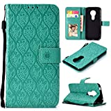 Ropigo Emboss 3D Rattan Flower Wallet Case for Motorola Moto G6 Play & Moto E5 Flip Leather Protective Case with Wrist Strap,Magnetic Closure,Credit Card Slots Holder,Kickstand Function Mint Green