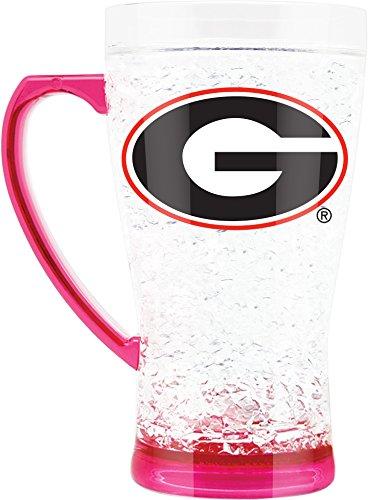NCAA Georgia Bulldogs 16oz Crystal Freezer Flared Mug with Pink Base and Handle