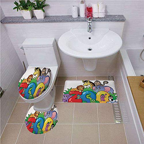 Bath Rug Set,Zoo,Zoo Sign with Various Animals Mascot Cartoon Characters Cute Playful Kids Room Print Decorative,Multicolor,Non-Slip Soft Absorbent Bath Rug