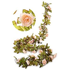Greentime 2 Pack 17 Heads 7.2 Ft/pc Artificial Silk Fake Flowers Autumn Rose Vine Hanging Plants Wedding Home Party Arch Thanksgiving Decor 106
