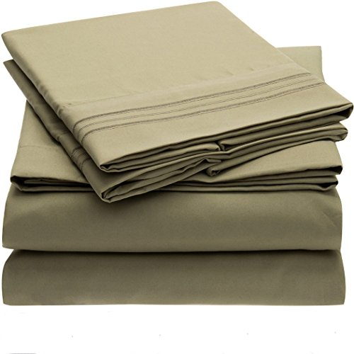 Seckatech King Size Soft Microfiber 4-Piece Bedding Set, 12 Colors. Flat Sheet, Fitted Sheet and 2 Pillowcases (King Size, Olive Green)