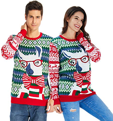 RAISEVERN Adult's Ugly Christmas Sweater Cute Alpaca Wearing Glass Snawflake Deer Knitted Crewneck Xmas Sweater Pullover