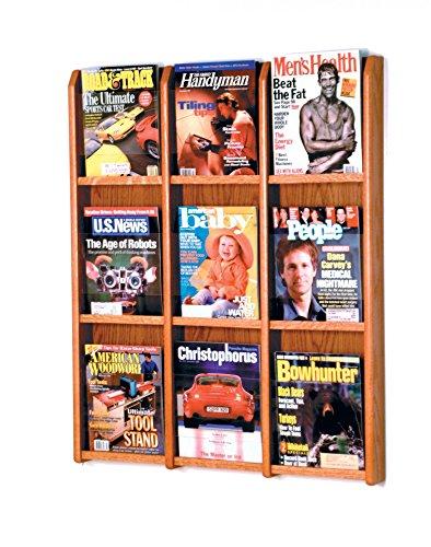 Wooden Mallet 10-Pocket Cascade Free-Standing Magazine Rack, Medium Oak