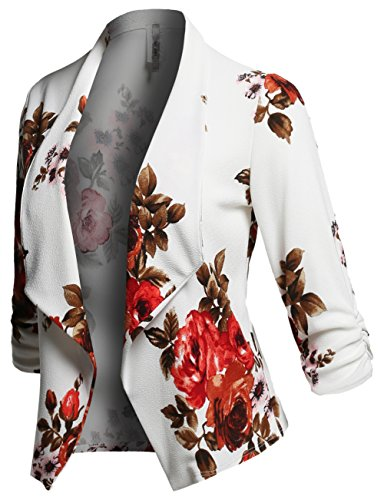 Awesome21 Stretch 3/4 Gathered Sleeve Open Blazer Jacket Ivory Size S