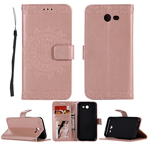 Mission,J3 Eclipse Case,DAMONDY Embossed Totem Flowers Stand Wallet Purse Card ID Holders Design Flip Cover TPU Soft Bumper PU Leather Magnetic for Samsung J3 2017-Rose gold ()