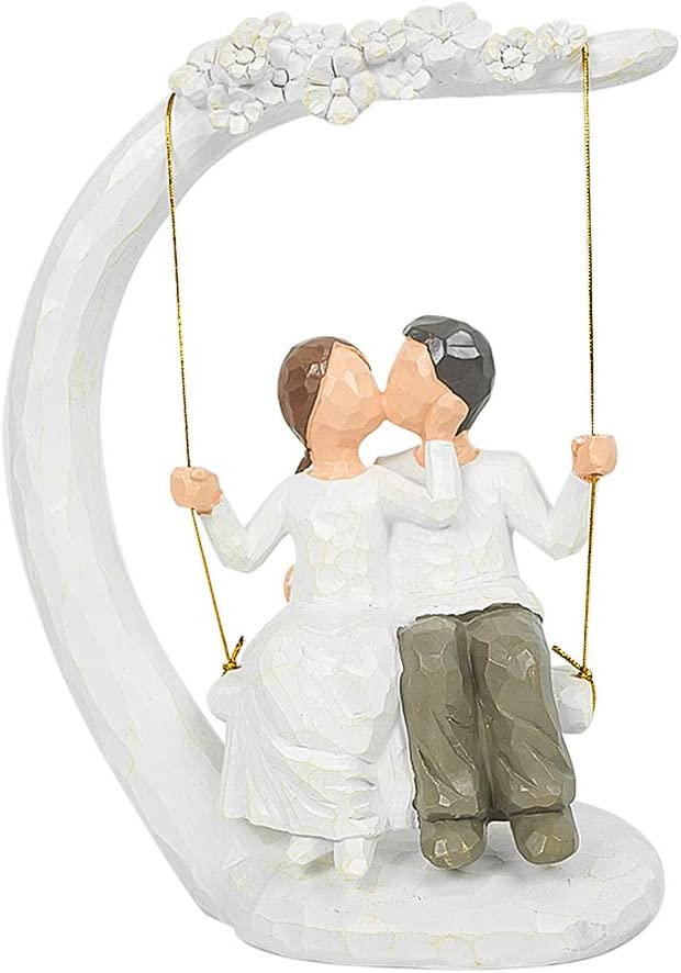 Lujuny Romantic Couple Figurines in Love, 9.5 in Kissing Swing Sculptures Home Decor, Resin Cute Statue with Gift Card- Best Gift for Valentine's Day/Wedding Anniversary/Newlyweds