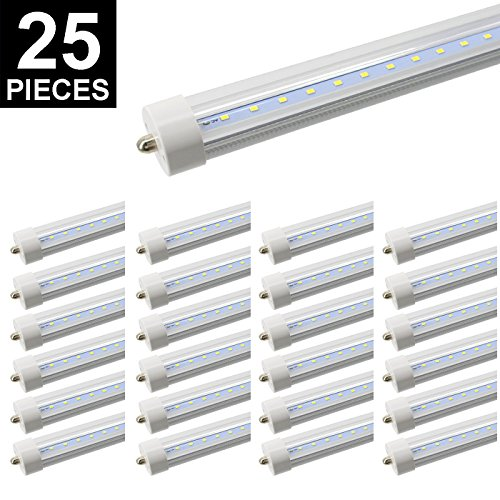 8ft LED Tube, CNSUNWAY LIGHTING 96'' 45Watt T8 FA8 Single Pin LED Bulbs With Clean Cover, 4800LM Super Bright 6000K-6500K Cool White(25 Pieces) by CNSUNWAY LIGHTING