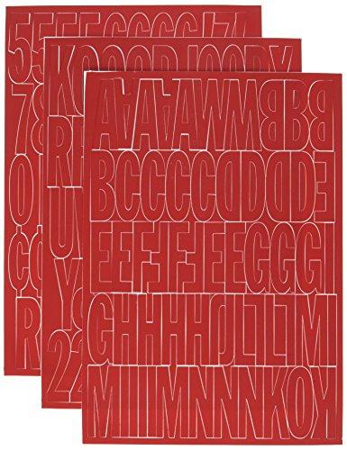 HY-KO Products 30004 Self Adhesive Vinyl Die Cut Numbers & Letters, 2 Inch, Red