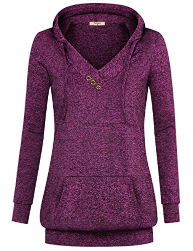 Timeson+Women+Long+Sleeve+V+Neck+Pullover+Kangaroo+Pocket+Sweatshirt+Hoodie+%28X-Large%2C+colorful+Violet%29