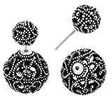 SheLian Vintage Hollow out Womens Double Side Round Ball Stud Earrings(Antique Silver Tone)