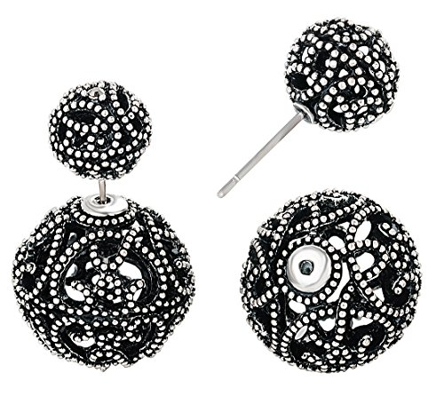 (SheLian Vintage Front Back Womens Double Side Round Ball Stud Earrings(Antique Silver Tone))