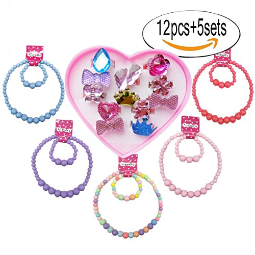 IDOXE Christmas Gift 17pcs Value Set Baby Jewelry Set for Girls, Solid Chunky Bubblegum Beaded Necklace Bracelet with Cartoon Animal Flowers Fruit Rings Box Baby Girl Party Play Jewelry