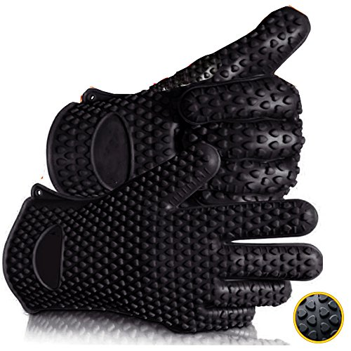 Barbecue Gloves - Silicone Heat Resistant Grilling Accessories & Home Kitchen Tools For Your Indoor & Outdoor Cooking Needs - Use as BBQ Meat Turner or Oven Mitts