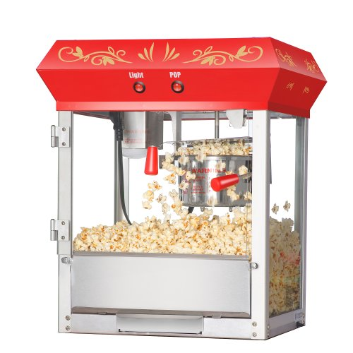 Great Northern Popcorn Red 4 oz. Ounce Foundation Old-Fashioned Popcorn Popper and Cart