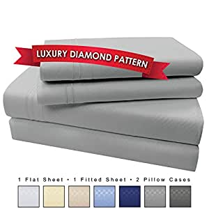 4 Piece Microfiber Sheet Set (Queen, Light Gray)