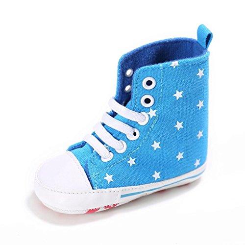 Igemy 1Paar Baby Kleinkind niedlich Canvas Soft Prewalker Anti-Rutsch Schuhe (Size:12, Hellblau)