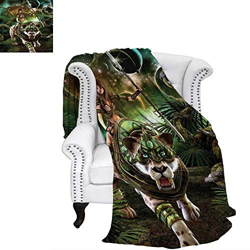 - WilliamsDecor Fantasy World Blanket Graphics of Fantasy Scene with Girl and Saber-Tooth Tiger Magical Plants Galaxy Digital Printing Blanket 70