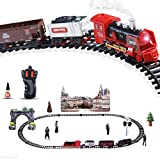 Haktoys Radio Control Classical Simulation R/C Train Set with Real Smoke, LED Lights, Sound and Bonus Figurine Pack