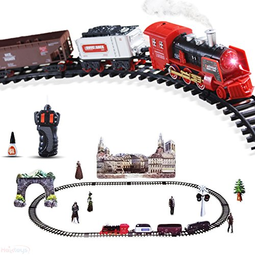 Haktoys Radio Control Classical Simulation R C Train Set With Real Smoke  Led Lights  Sound And Bonus Figurine Pack
