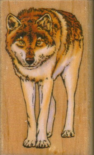 Wolf Rubber Stamp on Wooden Block ()