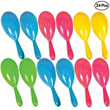 Neon Maracas - (Pack of 24) 4'' Colorful Plastic Maracas, Noise-Maker Shakers Party Favors for Kids, Mexican Party Decorations, Fiesta Party, Goodie Bags, Musical Instruments for Children by Bedwina