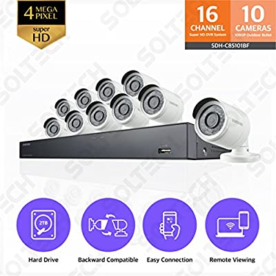 Samsung Wisenet SDH-C85101BF 16 Channel 4MP Super HD DVR Video Security System with 2TB Hard Drive and 10 1080p Weather Resistant Bullet Cameras (SDC-9443BC) from Hanwha Techwin America