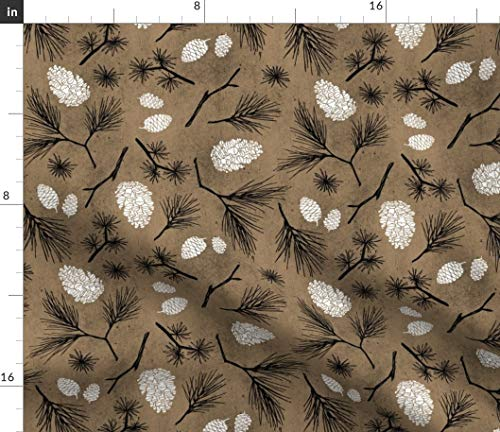 - Rustic Woodland Fabric - Pinecones Winter Wedding Christmas Holiday Pine Trees Forest Cabin Decor Brown Print on Fabric by the Yard - Petal Signature Cotton for Sewing Quilting Apparel Crafts Decor