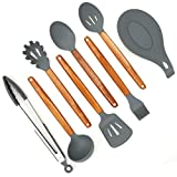 ELLO HOME Silicone Cooking Utensils Set   8 Piece Kitchen Utensil Set   Natural Acacia Wooden Silicone Kitchen Utensils Set   Silicone Utensil Set for Nonstick Pots Pans Nonstick Cookware Tongs Spoon