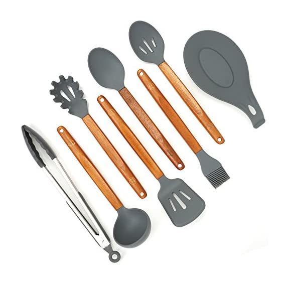 Silicone Cooking Utensils Set, 8 Piece Kitchen Utensil Set with Natural Acacia Wooden Handles, BPA Free Silicone Kitchen Cooking Utensils, Safe Cooking Tools for Non-stick Cookware, Best Holiday Gift 3 COMPLETE SET OF 8 COOKING UTENSILS: Are you looking for the Best Utensil Set for your cooking needs? Professional or home cook, our Non-stick Utensils gives you all the cooking tools needed to complement your kitchen! ELLO HOME Cooking Set includes 1 Silicone Serving Spoon, 1 Slotted Spoon, 1 Slotted Silicone Spatula, 1 Silicone Tongs, 1 Spaghetti Server, 1 Soup Ladle, 1 Pastry Brush, and 1 Silicone Spoon Rest to keep your stove and counters clean while cooking your meals. PREMIUM QUALITY: Are you looking for High-End Stylish Cooking Utensils to make tasty meals for your family? ELLO HOME offers you this much more! We are passionate about quality + simplicity. Careful thought was used to craft our beautiful rustic cooking set assuring safety and style. Our premium quality kitchen tools feature silicone heads that won't scratch pan surfaces, which makes them versatile for all types of cookware, keeping your non-stick pans in perfect condition. HIGH FOOD GRADE SILICONE: Silicone is the ideal alternative to harsh stainless steel utensils and bamboo utensils that can scrape and damage your non-stick pots and pans. Avoid those harmful plastic and nylon utensils that leak harmful chemicals into your food. Our Durable BPA Free, Food Grade Silicone Cooking Set is heat-resistant up to 464°F, so you can trust our cooking tools will not melt while cooking.