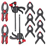 Hi-Spec 10pc Mini Quick Clamp & Ratcheting Clamp Set Including Ratcheting Bar Clamps with Quick Release and Spreader, Quick Releasing Ratchet Clamps and Nylon Spring Clamps