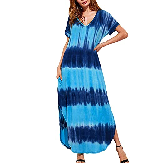 afb6a6db391 Casual Maxi Short Sleeve Split Tie Dye Long Dress Women s Summer Maxi Dress  Casual Loose Maxi