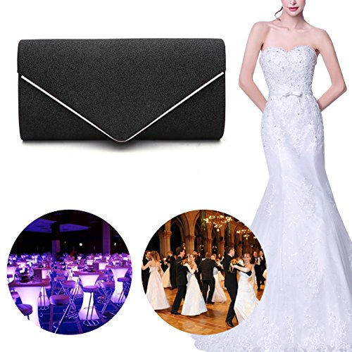 GESU Womens Shining Envelope Clutch Purses Glitter Evening Bag Handbags For Wedding and Party.(Silver) by GESU (Image #6)