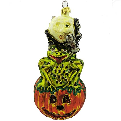 Larry Fraga COME OUT AT NIGHT Blown Glass Halloween Ornament Frog Bat 4190