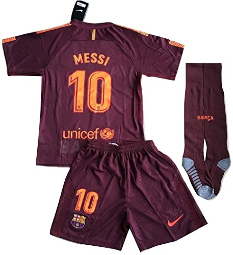 Messi #10 FC Barcelona 3rd Champions League Jersey Shorts and Socks for Kids/Youth (11-13 Years Old)