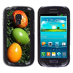 QCASE / Samsung Galaxy S3 MINI NOT REGULAR! I8190 I8190N / huevos de pascua arte colorido verde amarillo rojo / Delgado Negro Plástico caso cubierta Shell Armor Funda Case Cover