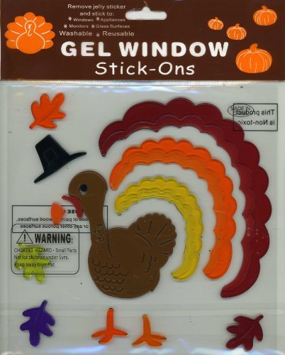 Authentic thanksgiving turkey fall leaves gel window