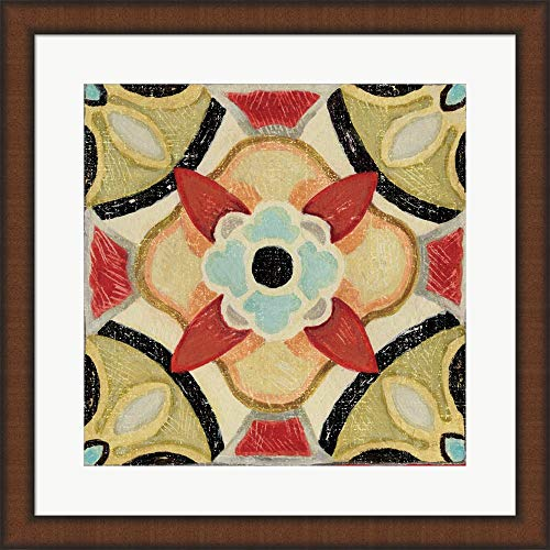 Bohemian Rooster Tile Square IV by Daphne Brissonnet Fine Art Print with Wood Box Frame and Glass Cover, 20 x 20 inches