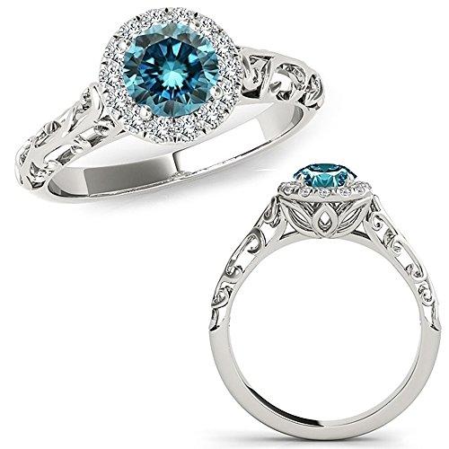 0.61 Carat Blue Diamond Designer Fancy Love Halo Engagement Beautiful Wedding Bridal Ring 14K White Gold (Fancy Pink Ring Diamond)