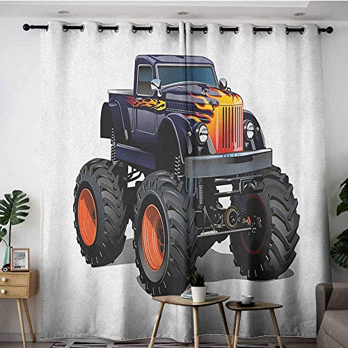 AGONIU Kids Curtains,Truck Flame Patterned Hood Cool Monster Truck with Giant Wheels Childrens Cartoon Pickup,for Bedroom Grommet Drapes,W108x72L Multicolor