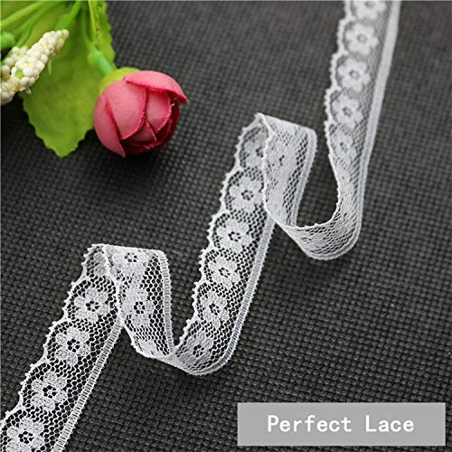 YUEAON 30 Rolls White Lace Ribbon Trim Assorted Patterns Lace Fabric for Bridal Wedding Decorations Sewing DIY Making 90 Yards